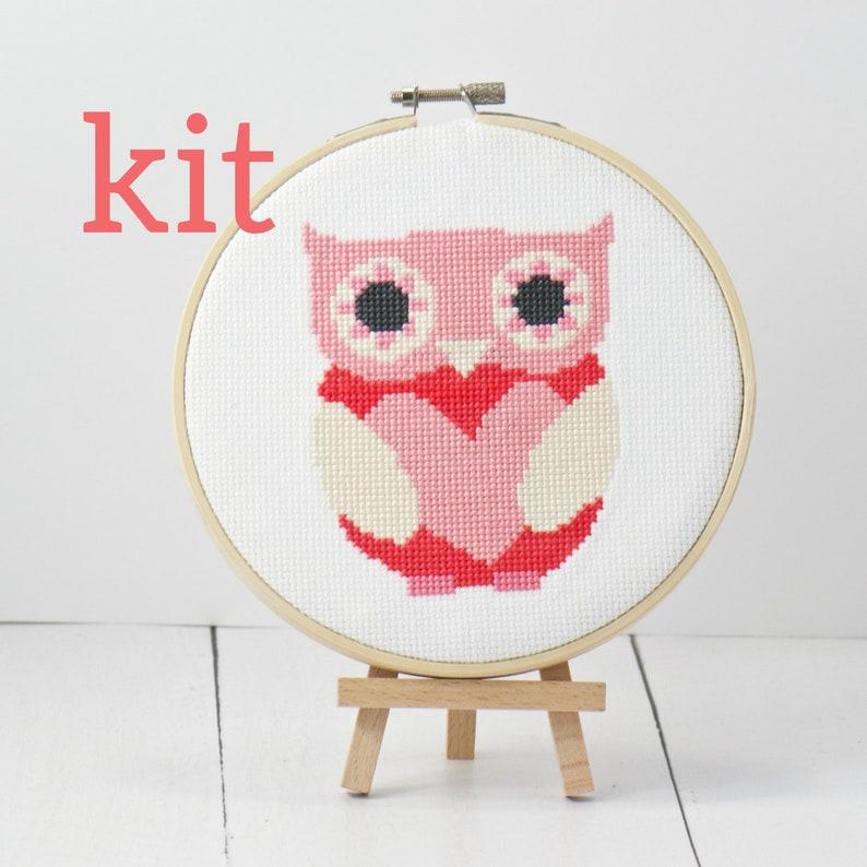 Red Pink Love Owl Cross Stitch Kit Nursery Room Decor Ideas image 0