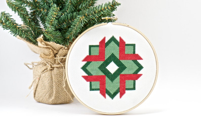 Happy Holidays Abstract Counted Cross Stitch Pattern DIY image 0