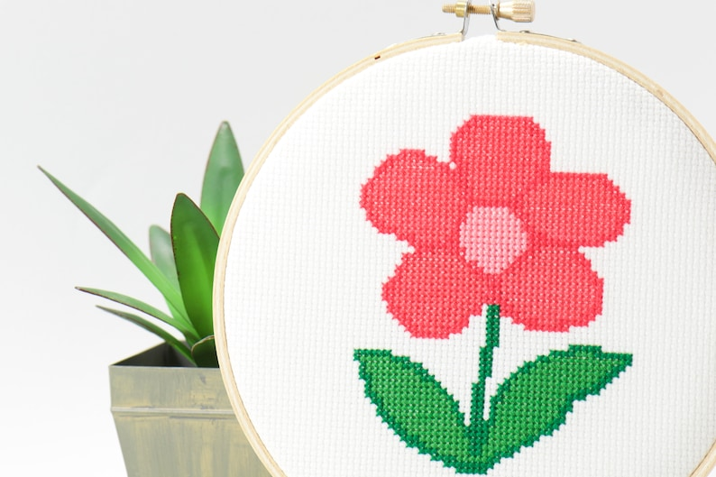 Simple Rose Flower Counted Cross Stitch Pattern Children Hand image 0