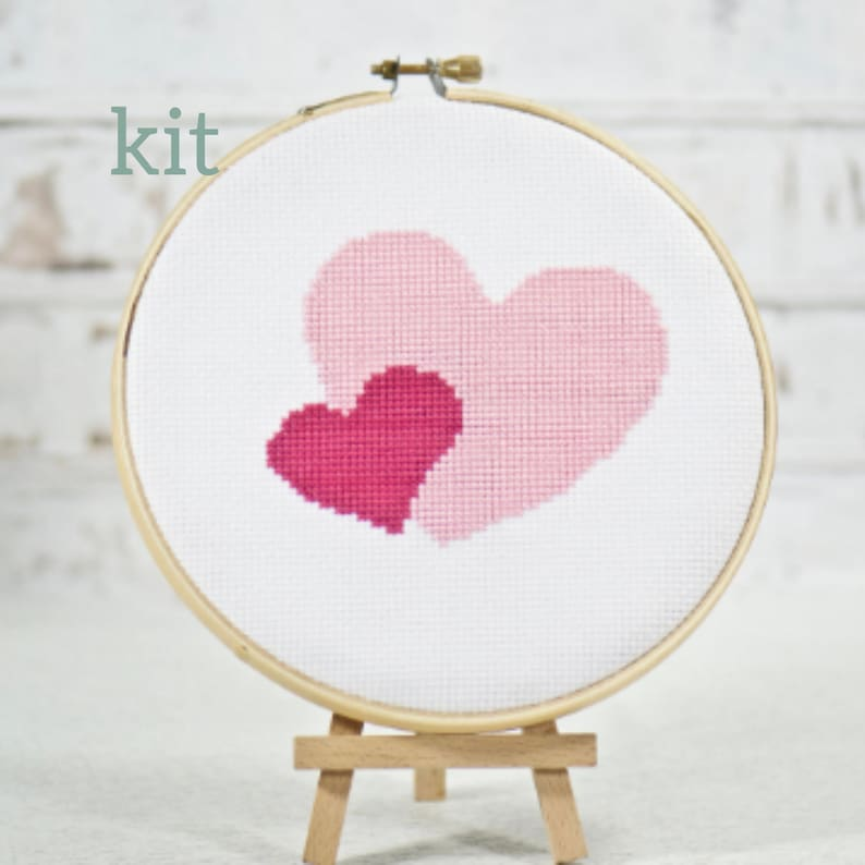 Pink Hearts Cross Stitch Kit Two Hearts Simple Hand image 0