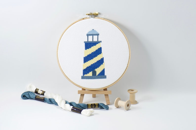Baby Blue Lighthouse Cross Stitch Pattern Easy PDF Download image 0
