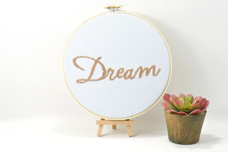 Dream Word Art Counted Cross Stitch Pattern Wall Home Decor image 0