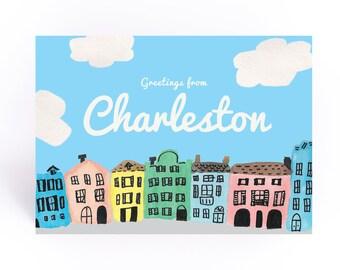 Rainbow Row Charleston Postcard