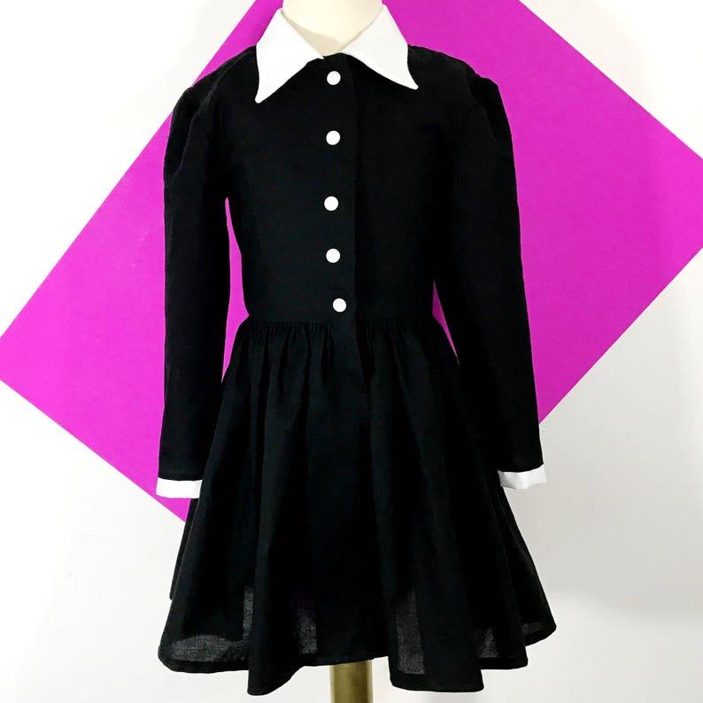 60s 70s Kids Costumes & Clothing Girls & Boys     Wednesday Addams  Shirt Dress $81.00 AT vintagedancer.com