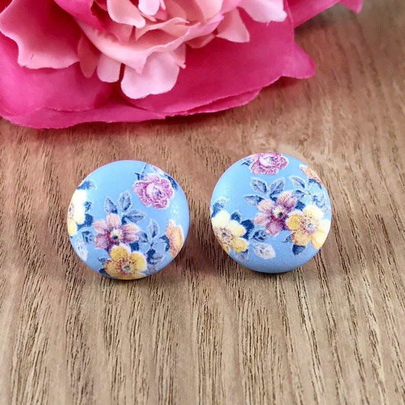 Turquoise Blue Flower Stud Post Fabric Button Earrings 58