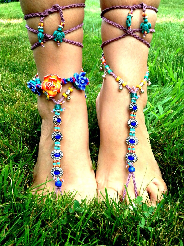 4fb34b06d0ff Blue Grotto Barefoot Sandal Yoga Beach Wedding Cobalt Blue Silver ...