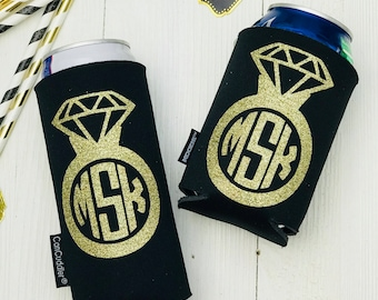 Personalized Wedding KOOZIE ® - Monogram Wedding Gift - Monogrammed Can Cooler - Monogram Bride - Custom Gift for Bride - Wedding Ring