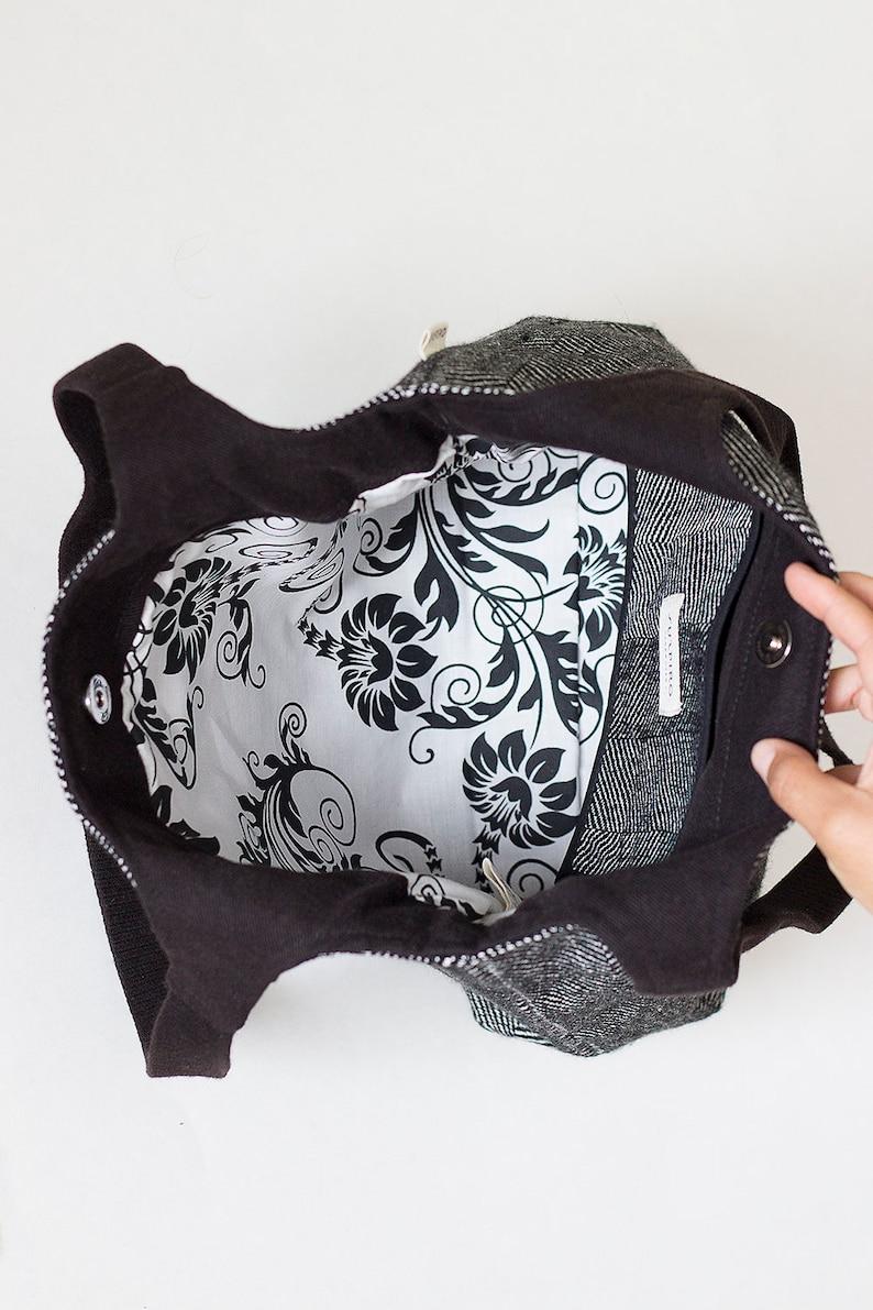 Handwoven tote bag Minimalist bag TOTE BAG Wool purse Minimal tote Tote bag with pocket Canvas tote bag Everyday tote bag Wool bags