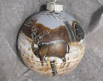 Christmas Ornament, Buck and Doe, Wildlife Art, Christmas Decoration