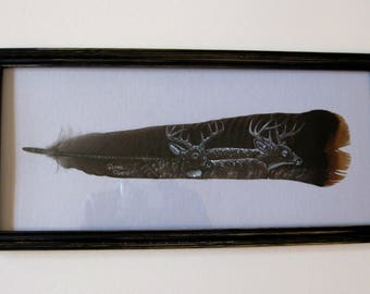 Turkey Feather, Two Bucks, Feather Art, Hand Painted Gift