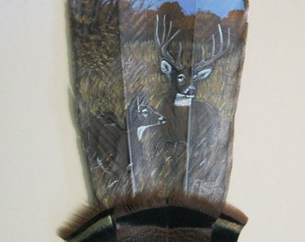 Turkey Feather, Feather Art, Doe and Buck, Rustic Decor