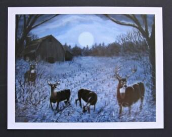 """Wildlife Print, Whitetale Deer, Old Barn, """"Hunters Moon"""" By Terrie Owens"""
