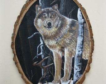 Wolf, Wildlife Art, Wll Decor Shed Antler