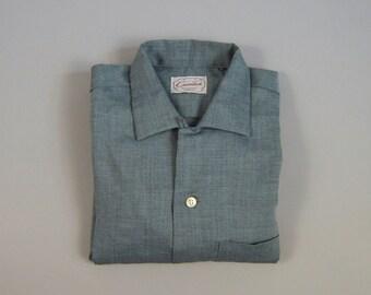 Vintage 1960s NOS Blue Gray Rayon Loop Collar Shirt by Cavendish Size Medium