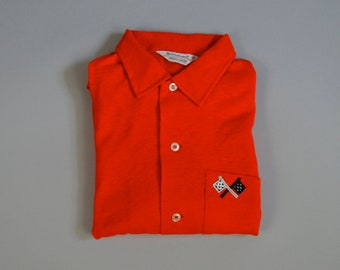 Vintage 1960s NOS Red Button Up Shirt w/Racing Patches Size Medium