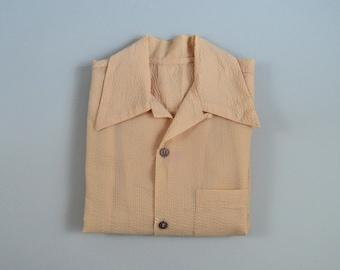 Vintage 1950s Tan Seersucker Loop Collar Shirt Size Large