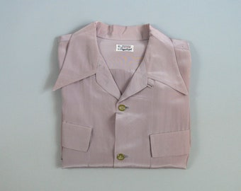 Vintage 1950s Lilac Nylon Loop Collar Shirt by Pennleigh Size Large