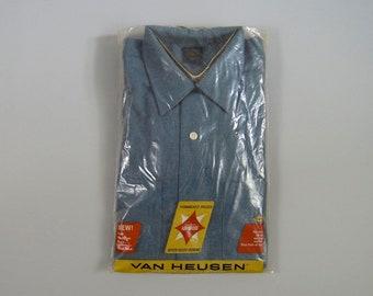 Vintage 1960s NOS Blue Wool Blend Loop Collar Shirt by Van Heusen Size Medium
