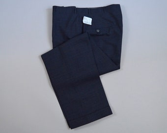 Vintage 1960s NOS Navy Blue Check Wool Trousers Size 35 x 29