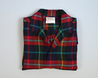 Vintage 1960s Black Red and green Plaid Rayon Shirt by Marlboro Size Medium