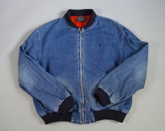 Vintage 1990s Denim Bomber Jacket w/Flannel Lining by Polo Country Size XL