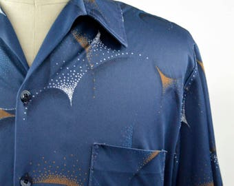 Vintage 1970s Short Sleeved Printed Disco Shirt by Mr. Jan Size X Large