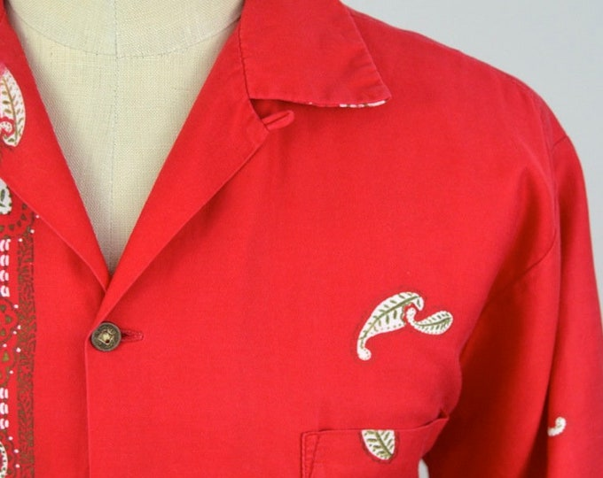 Featured listing image: Vintage 1950s Red Hawaiian Loop Collar Shirt by Richard Douglas Size Large