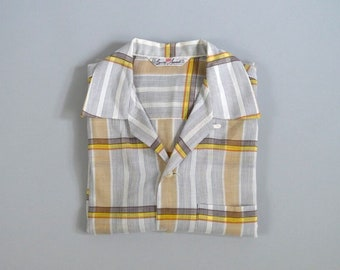 Vintage 1950s Brown Orange and Yellow Plaid Loop Collar Shirt by E&W Sports Size Medium