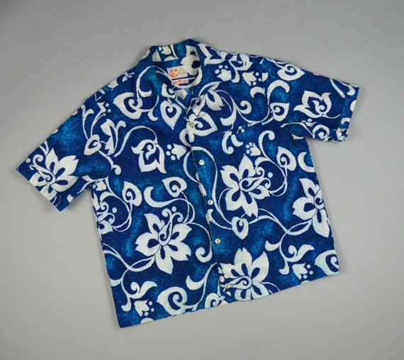 Vintage 1960s Blue Floral Hawaiian Shirt Jac by Io