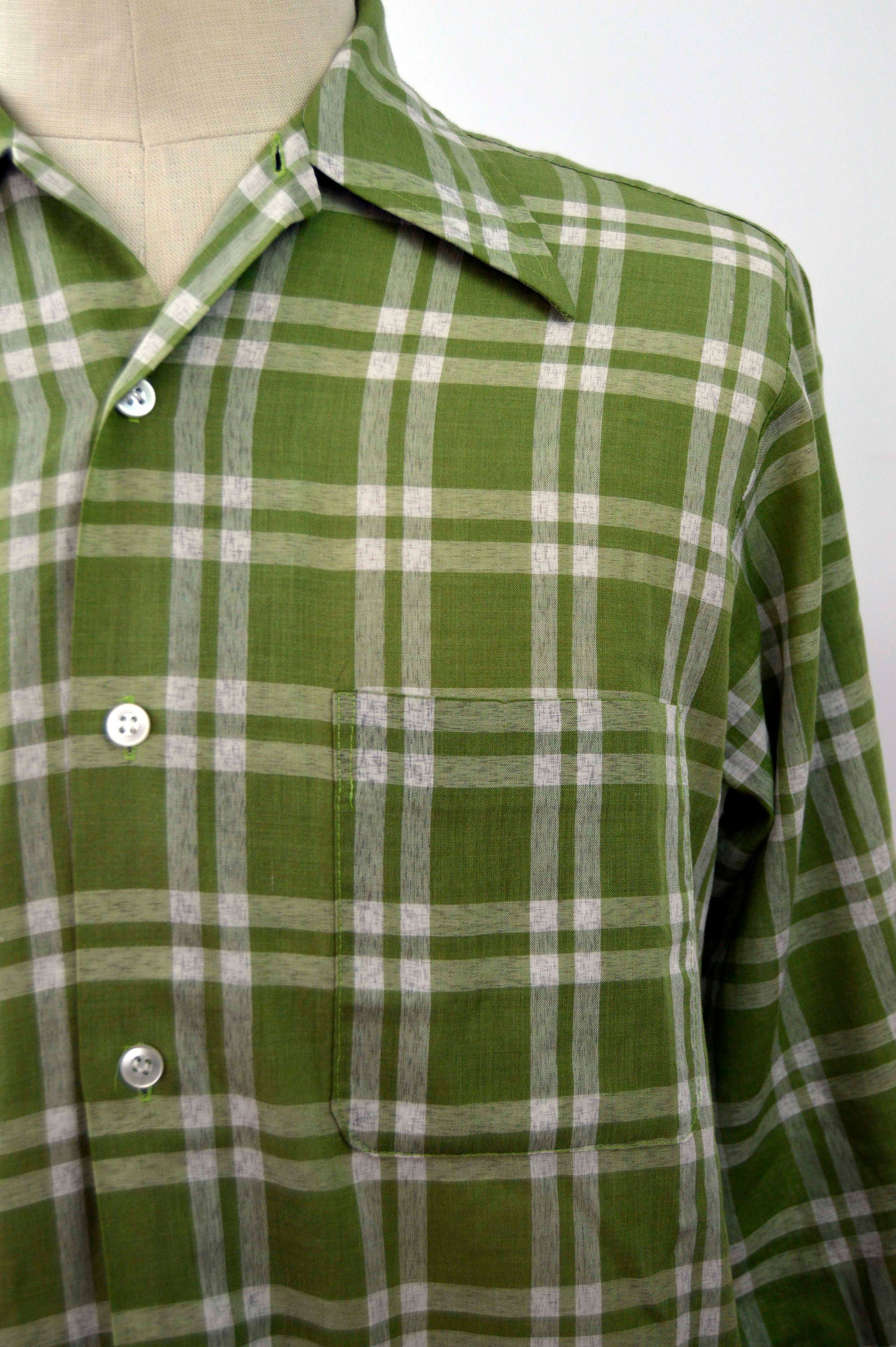 b32003a6907 Vintage 1960s Green Plaid Perma-Prest Button Up Shirt by Sears Size Medium
