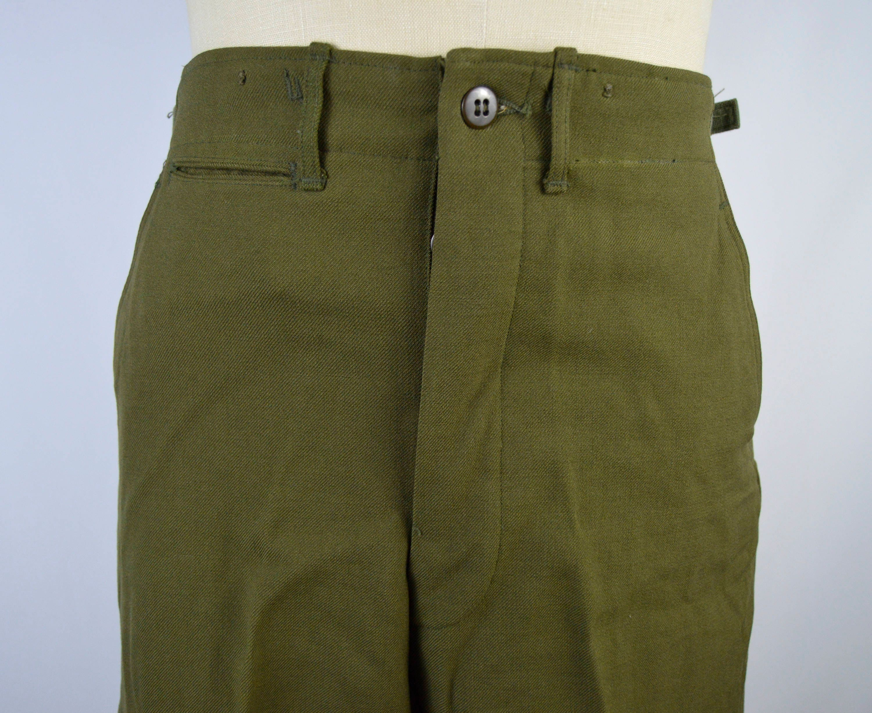 Vintage 1970s Green Wool Serge Military Trousers Size 28x31 WtTxtC