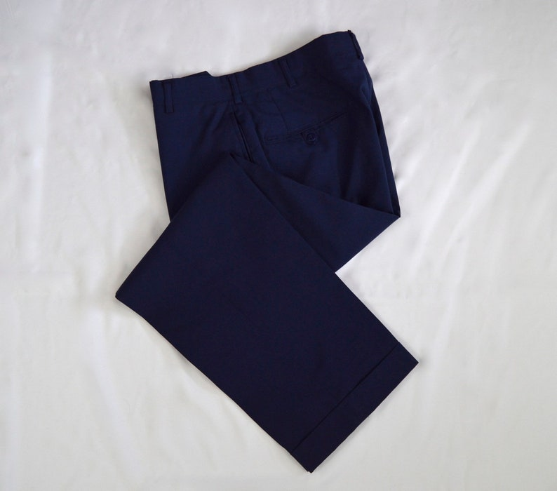 5c736bde6a1d4 Vintage 1980s Royal Blue Wool Blend Military Air Force Trousers Size 30x28