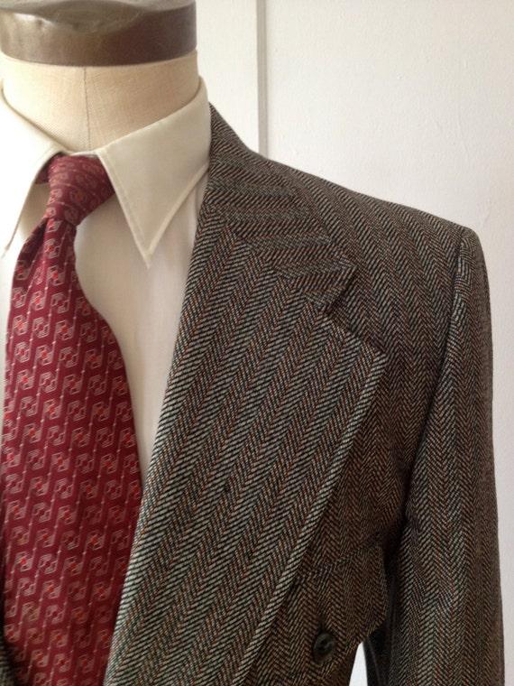 Vintage 60s/70s Green Wool Herringbone Suit by Tem