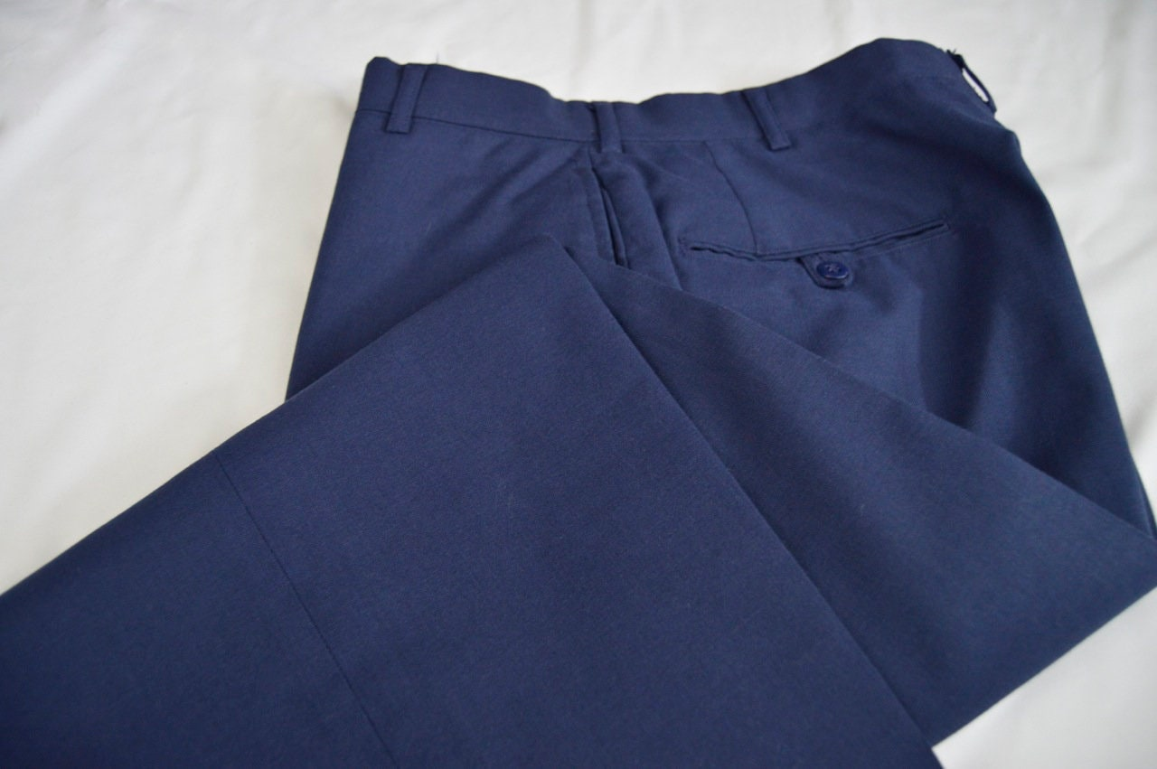 472827034ab9d Vintage 1980s Royal Blue Wool Blend Military Air Force Trousers Size ...