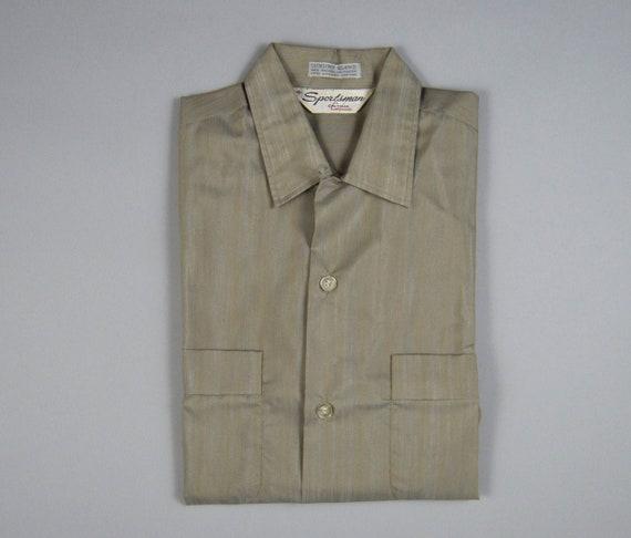 Vintage shirt salmon pink shirt size large top button loop Arrow shirt vintage clothing 1960s shirt