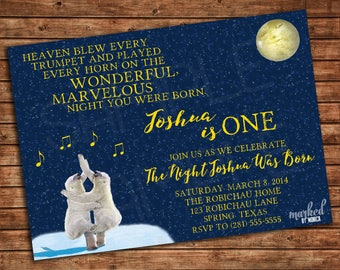On the Night You Were Born Party Invitation, Printable, Birthday, Baby Shower, Invite, DIY, Polar Bear, Moon