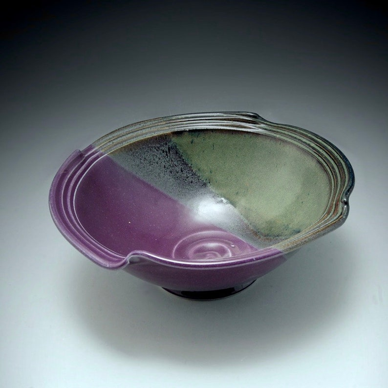 Handmade Stoneware Pottery Bowl Purple and  Brown by Mark image 0