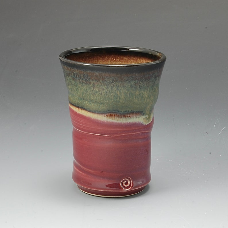 Handmade Pottery Tumbler Plum Red Brown Stoneware by Mark image 0