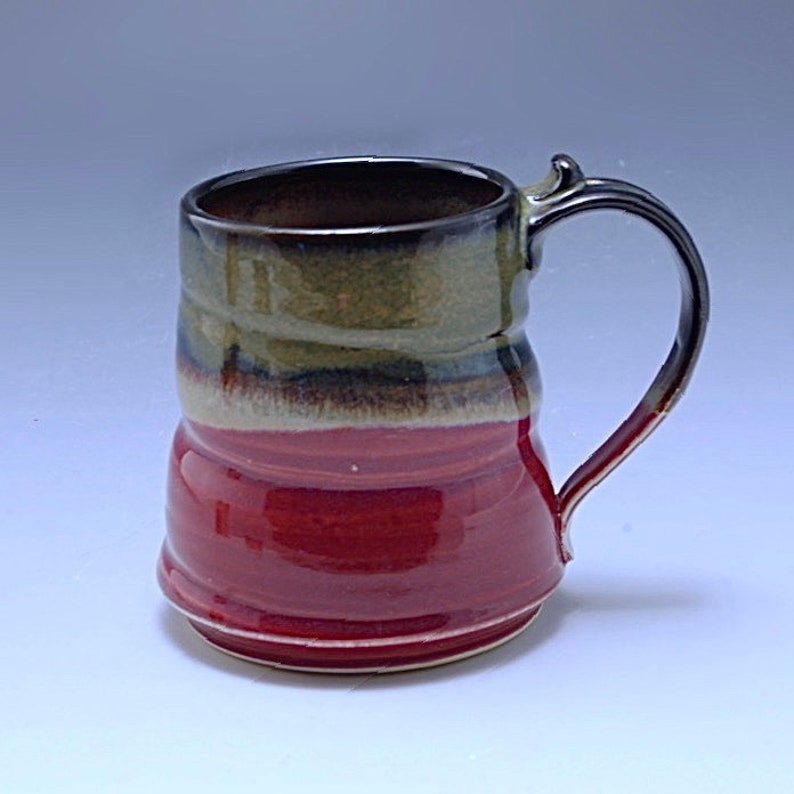 Handmade Pottery Large Mug Plum Red Brown Stoneware by Mark image 0