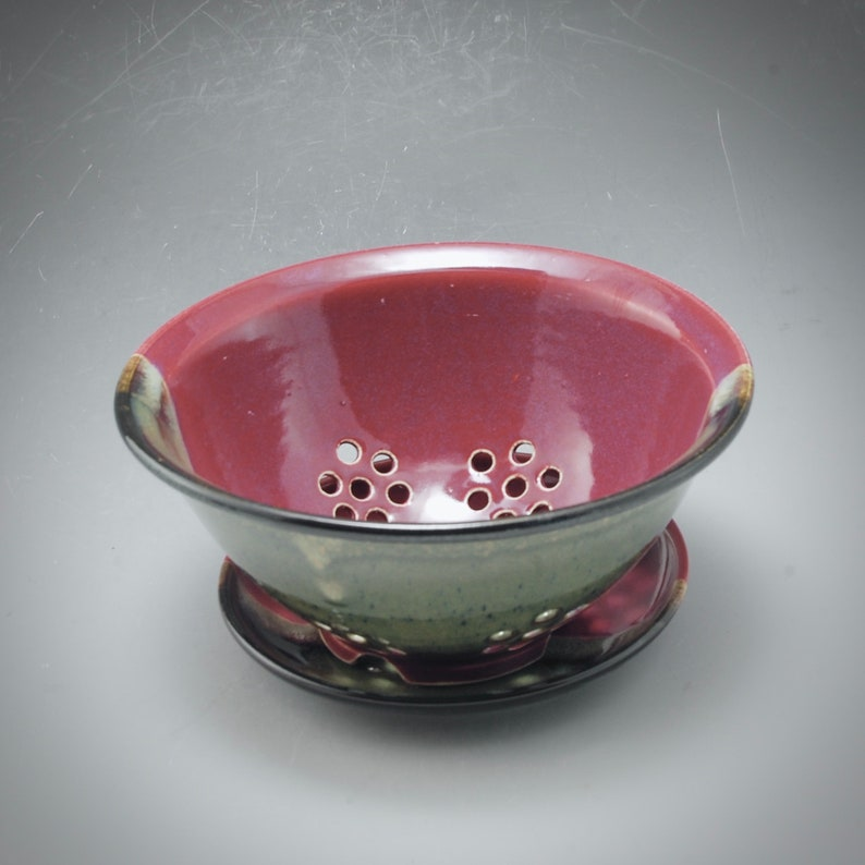 Handmade Pottery Berry Bowl Plum Red Brown by Mark Hudak image 0