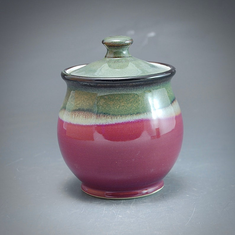 Handmade Pottery Covered Jar Plum Red Brown Stoneware by Mark image 0