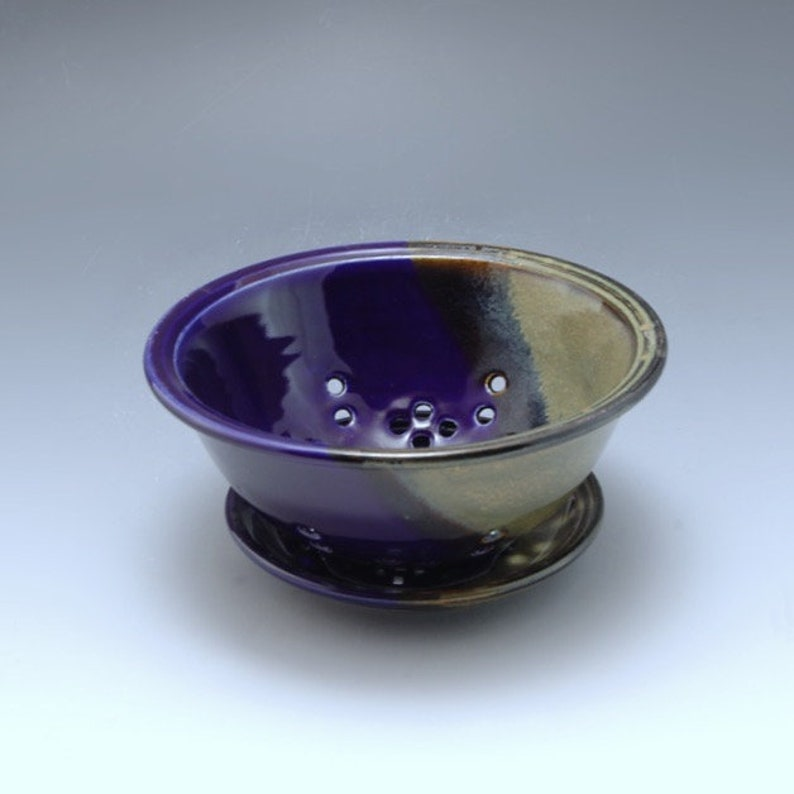 Handmade Pottery Berry Bowl Blue Brown by Mark Hudak image 0