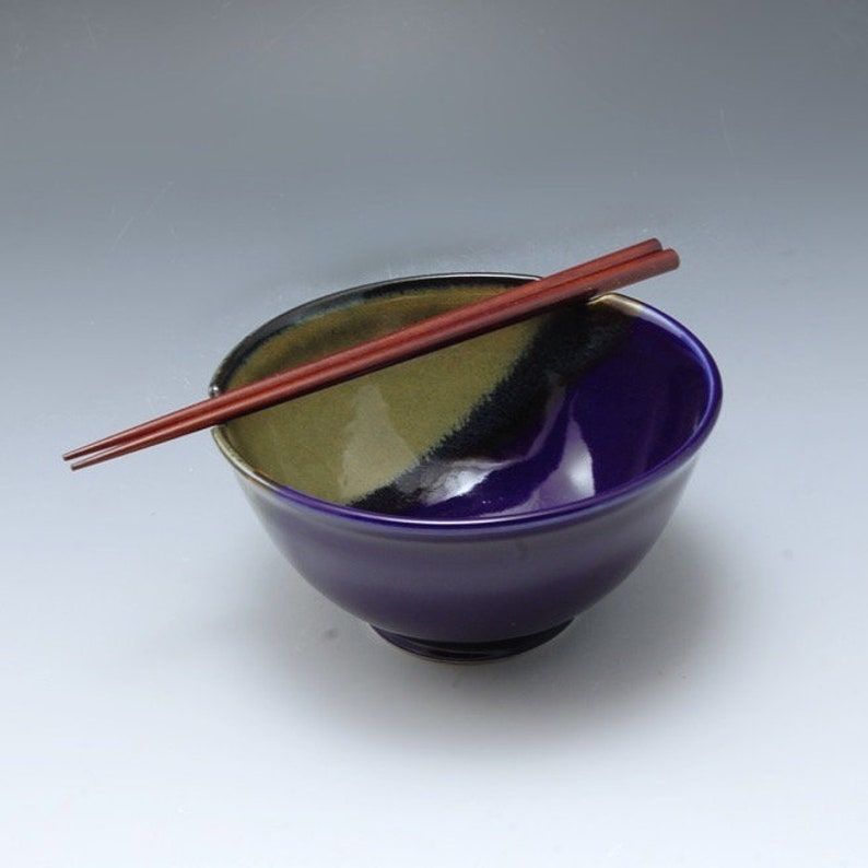 Handmade Stoneware Pottery Rice /Noodle Bowl Blue and Brown by image 0