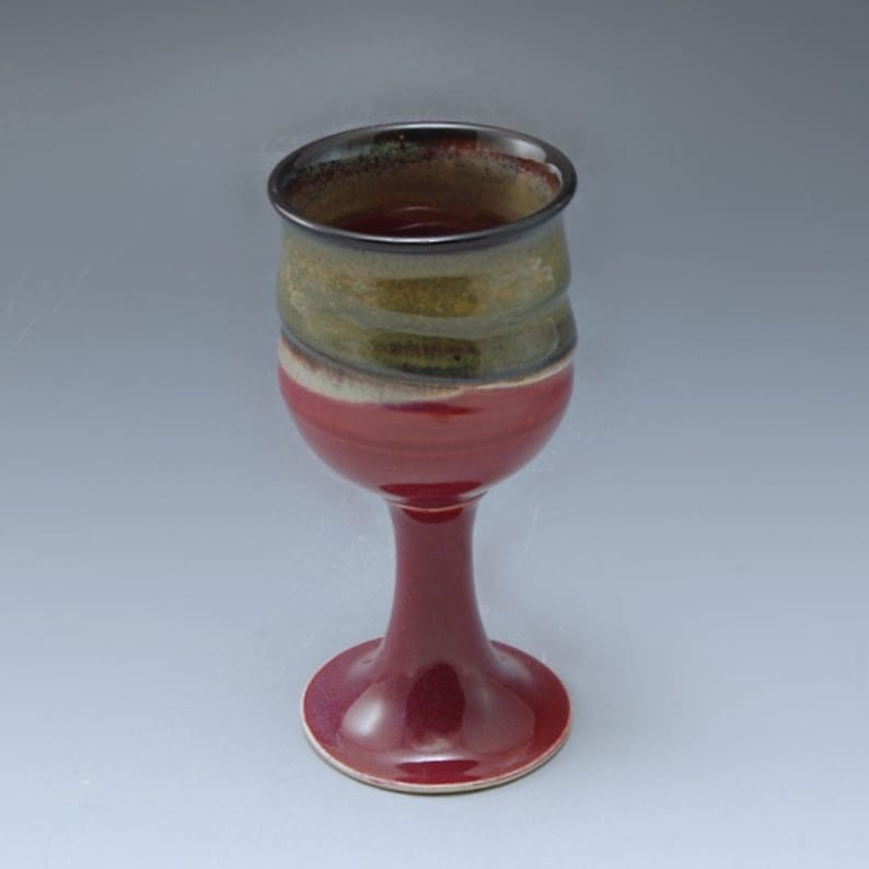 Handmade  Pottery Stoneware Goblet Plum Red Brown by Mark image 0