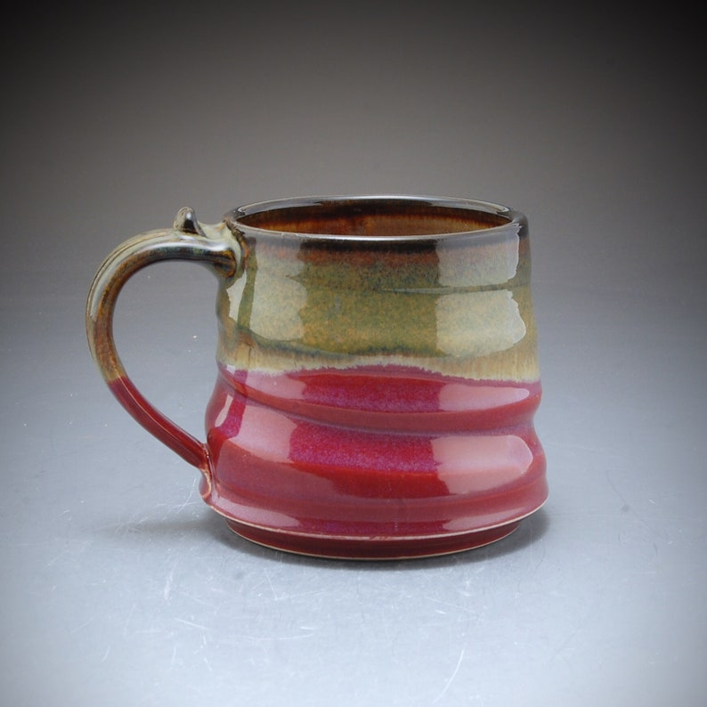 Handmade Pottery Large Wide Mug Plum Red brown Stoneware by image 0