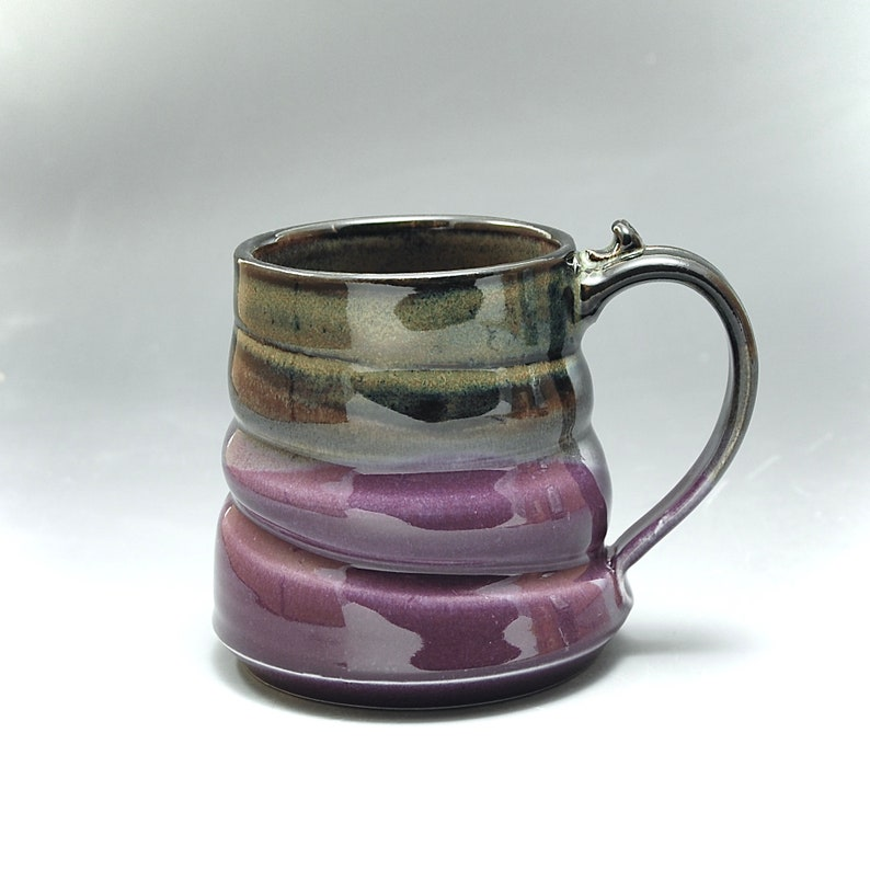 Handmade Pottery Mug Purple and Golden Brown  Stoneware by image 0