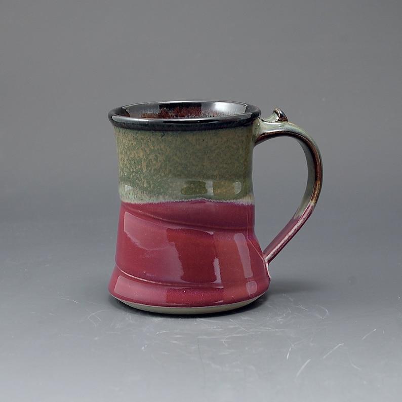 Handmade Pottery Large Mug Plum Red Brown Stoneware by Mark image 0