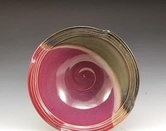 Handmade  Pottery Stoneware Bowl Plum Red Brown by Mark Hudak