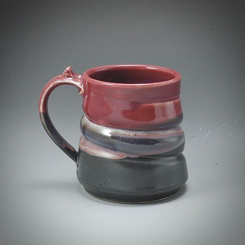 Handmade Pottery Mug Black and Red Stoneware by Mark Hudak image 0