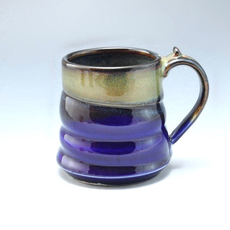 Handmade Pottery Mug Blue and Brown Stoneware by Mark Hudak image 0